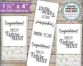 """Retirement Party Tic Tac Labels, Retire MINT Stickers, Tic Tacs Labels, MInts, Print As Many As You Need, 1-1/3x4"""" PRINTABLE Stickers <ID>"""