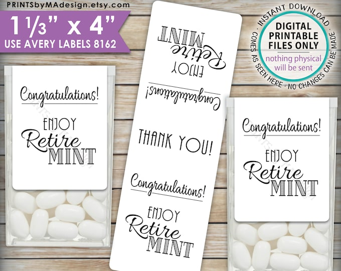 "Retirement Party Tic Tac Labels, Retire MINT Stickers, Tic Tacs Labels, MInts, Print As Many As You Need, 1-1/3x4"" PRINTABLE Stickers <ID>"