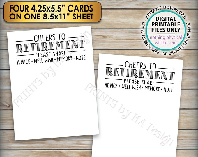 "Cheers to Retirement Party Cards, Retirement Wishes, Retirement Party Activity, Four 4.25x5.5"" Cards on PRINTABLE 8.5x11"" Sheet <ID>"