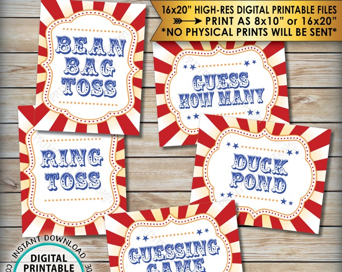 "Carnival Games Signs, Carnival Theme Party, Bean Bag Toss, Ring Toss, Duck Pond, Guess, Circus Theme Party, PRINTABLE 8x10/16x20"" Signs <ID>"