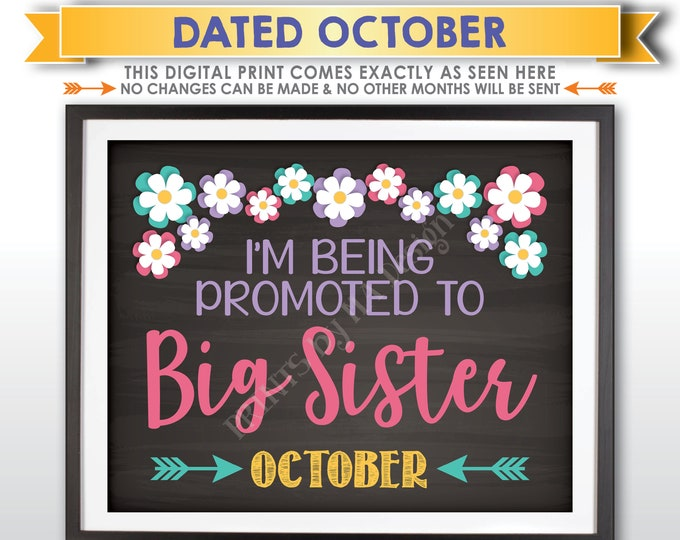 Pregnancy Announcement Sign, Promoted to Big Sister, Baby Number 2 Due in OCTOBER Dated Chalkboard Style PRINTABLE Baby #2 Reveal Sign <ID>