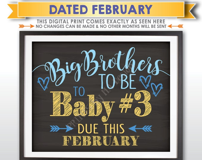 Baby #3 Pregnancy Announcement, Big Brothers to 3rd Child, Baby Number 3 due FEBRUARY Dated Chalkboard Style PRINTABLE Baby Reveal Sign <ID>