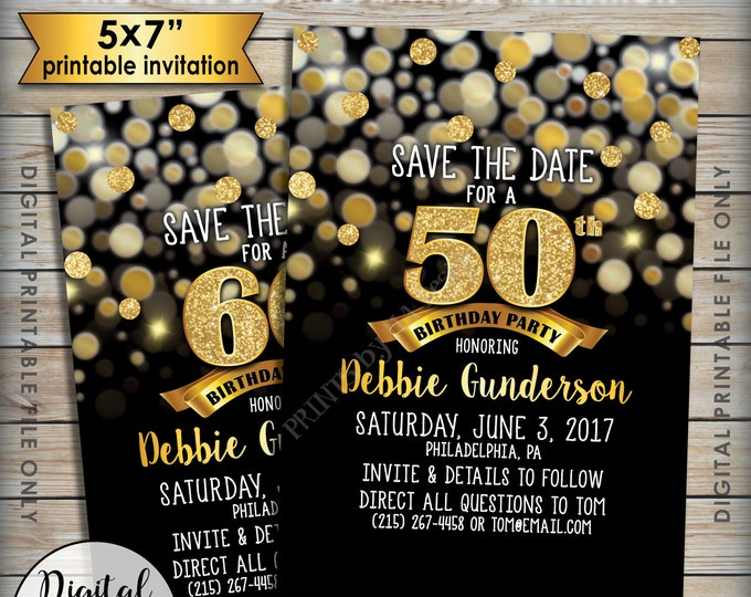 "Birthday Party Save the Date, Birthday Save the Date, 30th 40th 50th 60th 70th Birthday STD, Black & Gold Glitter 5x7"" Printable File"
