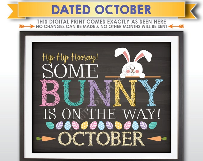 Easter Pregnancy Announcement, Some Bunny is on the Way in OCTOBER dated PRINTABLE Chalkboard Style Baby Reveal Sign <ID>