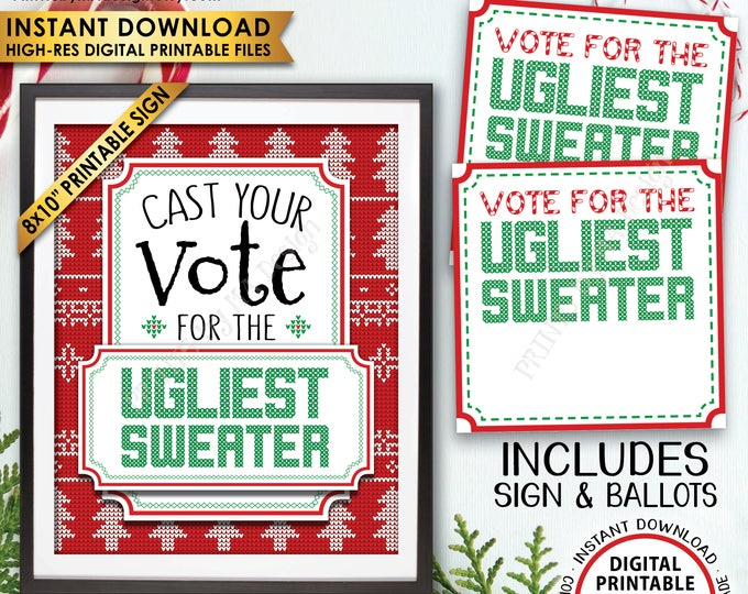 Ugly Sweater Party Voting Sign and Ballots, Vote for the Ugliest Christmas Sweater Party, Tacky, Tackiest, PRINTABLE Sign and Ballots <ID>