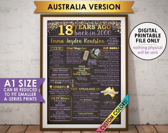 18th Birthday Gift 2000 Poster, Flashback to 2000 Flashback AUSTRALIA 18 Years Ago, Back in 2000 Bday, PRINTABLE Chalkboard Style A1 Poster