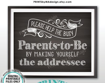 """Baby Shower Address Envelope Sign, Help the Parents-to-Be by Addressing a Thank You Envelope, PRINTABLE 8.5x11"""" Chalkboard Style Sign <ID>"""