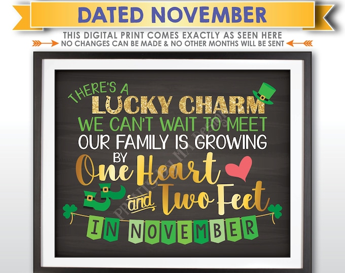 St Patrick's Day Pregnancy Announcement Our family is growing by 1 Heart & 2 Feet NOVEMBER Dated Chalkboard Style PRINTABLE Reveal Sign <ID>