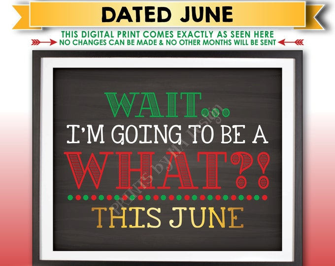 Christmas Pregnancy Announcement, Wait I'm Going to be a WHAT? Big Brother or Sister, Due in JUNE Dated Printable Baby #2 Reveal Sign <ID>