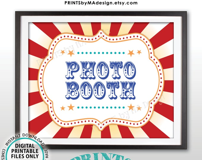 """Carnival Photobooth Sign Carnival Theme Party Sign, Carnival Photo Booth, Game, Circus Theme Party, PRINTABLE 8x10/16x20"""" Carnival Sign <ID>"""