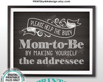 "Baby Shower Address Envelope Sign, Help the Busy Mom-to-Be by Addressing a Thank You Envelope, PRINTABLE 8.5x11"" Chalkboard Style Sign <ID>"