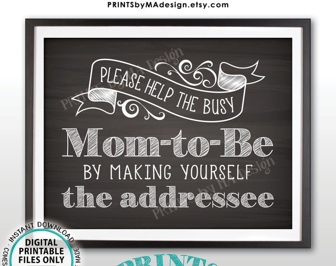 """Baby Shower Address Envelope Sign, Help the Busy Mom-to-Be by Addressing a Thank You Envelope, PRINTABLE 8.5x11"""" Chalkboard Style Sign <ID>"""