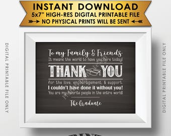 "Graduation Party Thank You Sign, Thank You Card from the Graduate, PRINTABLE 5x7"" Chalkboard Style Graduation Party Decoration <ID>"