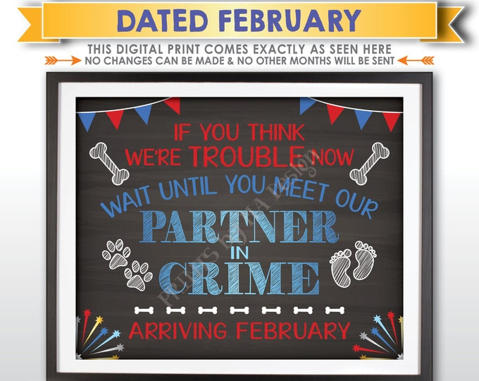 4th of July Themed Dog Pregnancy Announcement, Meet Our Partner in Crime in FEBRUARY Dated Chalkboard Style PRINTABLE Baby Reveal Sign <ID>