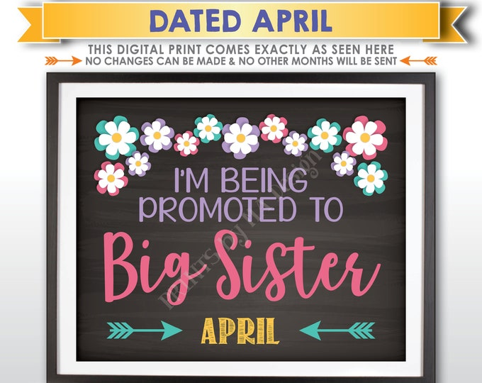 Pregnancy Announcement Sign, Promoted to Big Sister, Baby Number 2 Due in APRIL Dated Chalkboard Style PRINTABLE Baby #2 Reveal Sign <ID>