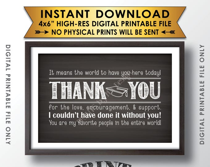 """Graduation Thank You Sign, Grad Thank You Card, Graduation Party Decoration, PRINTABLE 4x6"""" Chalkboard Style Graduate Sign"""