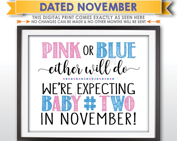 Baby Number 2 Pregnancy Announcement, Pink or Blue Either Will Do Sign, Due with #2 in NOVEMBER Dated PRINTABLE Pregnancy Reveal Sign <ID>