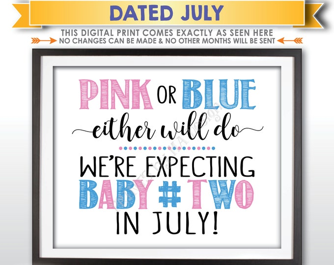 Baby Number 2 Pregnancy Announcement, Pink or Blue Either Will Do Sign, Due with #2 in JULY Dated PRINTABLE Pregnancy Reveal Sign <ID>