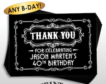 "Thank You Card, Whiskey Theme Birthday, Vintage, Better with Age, Liquor, Adult, Custom Black & White PRINTABLE 5x7"" B-day Thank You Card"