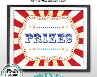"""Carnival Prizes Sign, Carnival Party, Circus Games, Birthday Circus Party, Circus Activities Festival, PRINTABLE 8x10/16x20"""" Prize Sign <ID>"""