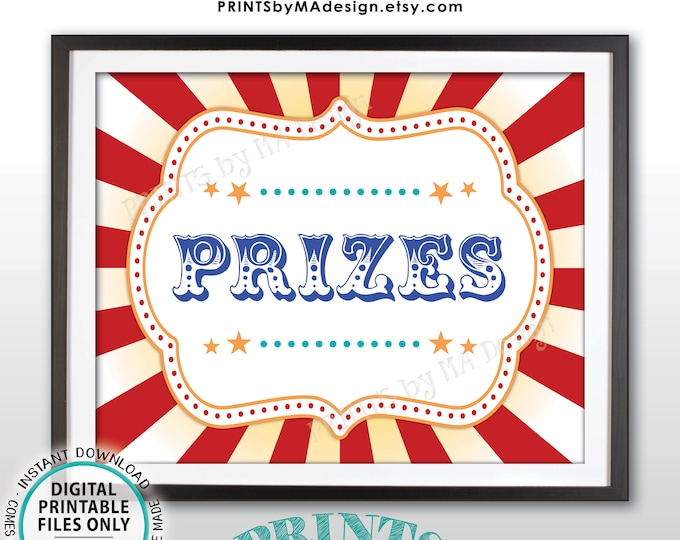 "Carnival Prizes Sign, Carnival Party, Circus Games, Birthday Circus Party, Circus Activities Festival, PRINTABLE 8x10/16x20"" Prize Sign <ID>"