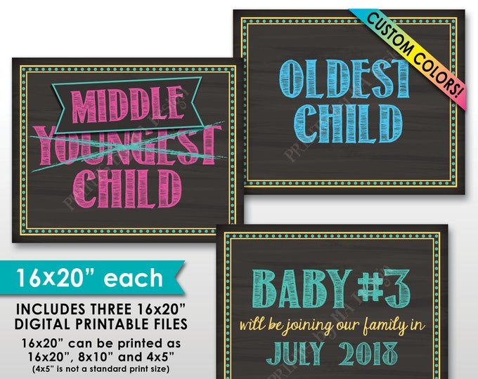 """3rd Baby Oldest Middle Youngest Pregnancy Announcement We're Expecting Third child, Pregnant, 8x10/16x20"""" Chalkboard Style PRINTABLE Signs"""