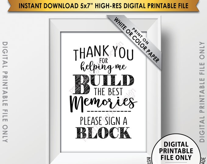 """Sign a Block Sign, Thank You for Helping Me Build Memories, Graduation Party, Retirement Party, Birthday, Bon Voyage, PRINTABLE 5x7"""" <ID>"""