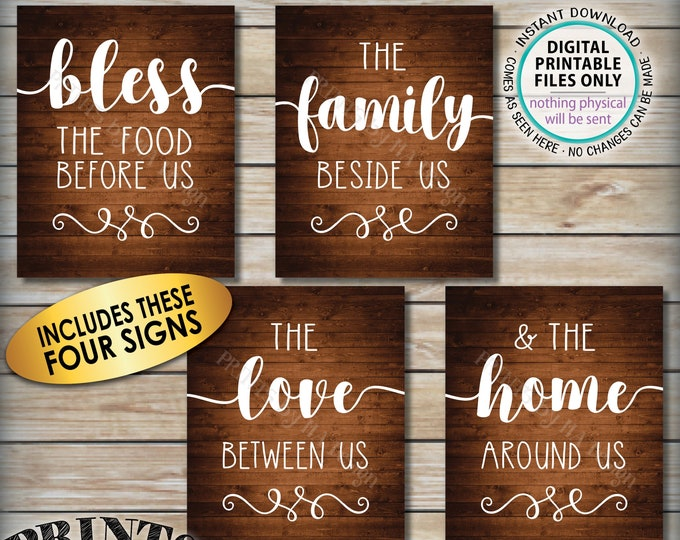 Bless the Food Before Us, Family Beside Us, Love Between, Home Around Us, Kitchen Wall Decor, Four PRINTABLE Rustic Wood Style Signs <ID>