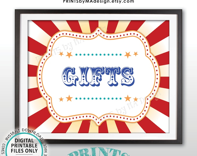 "Carnival Gifts Sign, Gift Table Carnival Theme Party Sign, Carnival Sign, Circus Theme Party, PRINTABLE 8x10/16x20"" Carnival Gifts Sign <ID>"