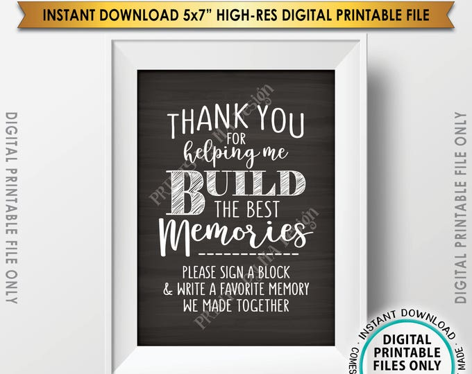 """Sign a Block Sign, Thank You for Helping Me Build Memories, Retirement, Graduation, Bon Voyage, Chalkboard Style PRINTABLE 5x7"""" Sign <ID>"""