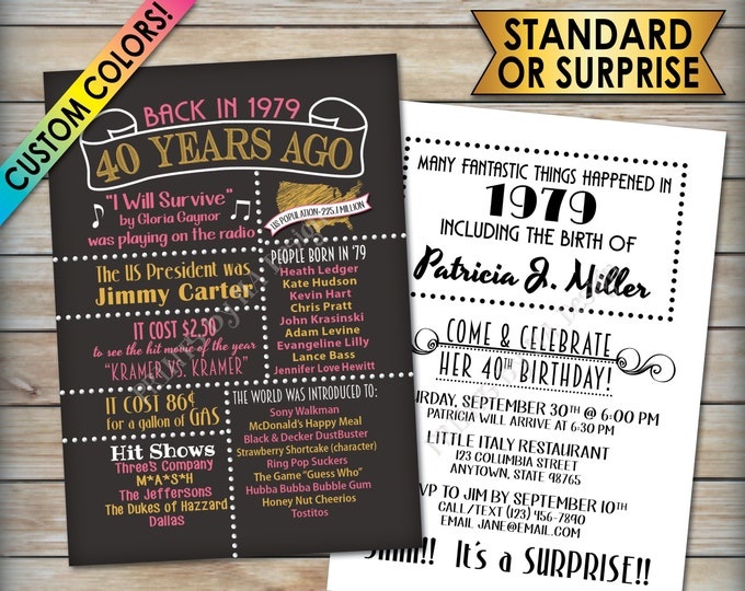 "40th Birthday Party Invitation, Born in 1979, Flashback 40 Years Ago in 1979 Invite, Custom 40th B-day Invite, PRINTABLE 5x7"" Invitation"