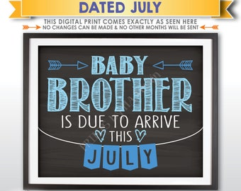 It's a Boy Gender Reveal Pregnancy Announcement, Baby Brother is due in JULY Dated Chalkboard Style PRINTABLE Blue Reveal Sign <ID>