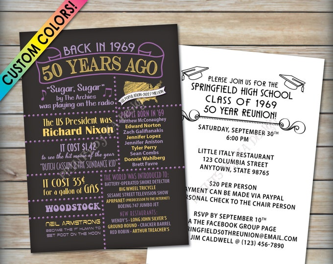 "50th Reunion Invitation, Class of 1969 Invite, Graduated in 1969 Flashback 50 Years Ago, 50th Class Reunion Invite, PRINTABLE 5x7"" Invite"