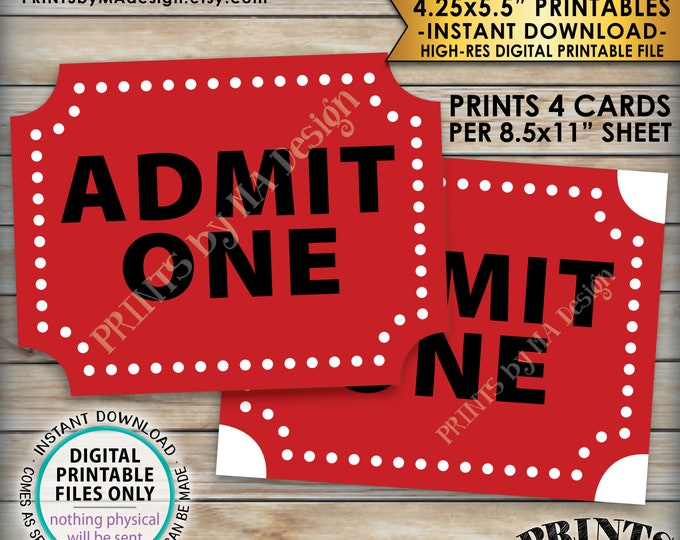 "Admit One Carnival Tickets, Circus Tickets, Birthday Festival, Carnival Decorations, Four 4.25x5.5"" tickets per 8.5x11"" PRINTABLE Sheet <ID>"