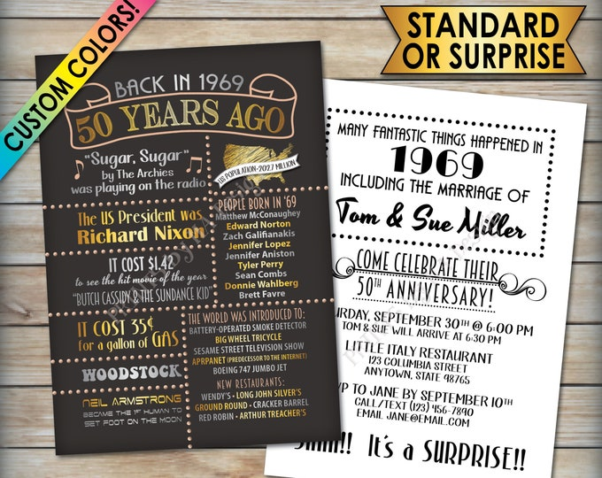 "50th Anniversary Invitation, Married Back in 1969, Flashback 50 Years Ago in 1969, Custom 50th Anniversary Invite, PRINTABLE 5x7"" Invitation"