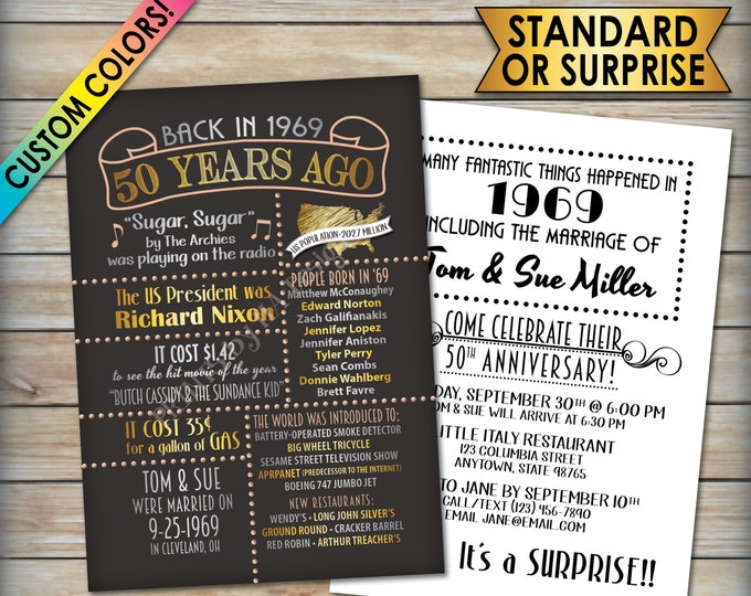 """50th Anniversary Invitation, Married in 1969 Flashback to 1969, 50 Years Ago back in 1969 Invite, PRITNABLE 5x7"""" 50th Anniversary Invite"""