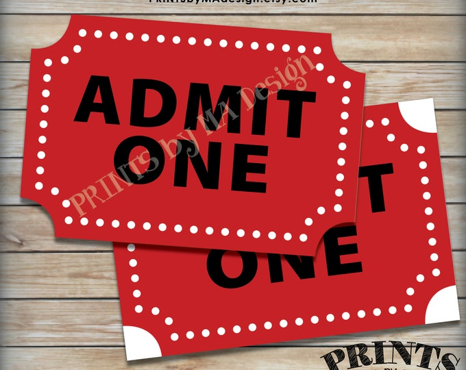 "Admit One Carnival Ticket, Circus Ticket, Birthday Party, Halloween Decor, Carnival Decoration, One PRINTABLE 4x6"" Carnival Ticket <ID>"