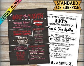 "40th Anniversary Invitation, Married in 1978 Flashback 40 Years Ago 1978 Invite, Chalkboard Style PRITNABLE 5x7"" 40th Anniversary Invitation"