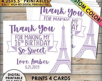 """Sweet 16 Birthday Party Cards, Thank You Favors, Paris Themed Birthday Party Tags, Sixteen, Four 4.25x5.5"""" cards on 8.5x11"""" PRINTABLE file"""