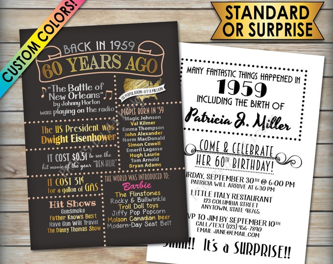 "60th Birthday Party Invitation, Born in 1959, Flashback 60 Years Ago in 1959 Invite, Custom 60th B-day Invite, PRINTABLE 5x7"" Invitation"