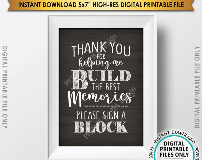"Sign a Block Sign, Thank You for Helping Me Build Memories, Graduation Party, Retirement, Bon Voyage, Chalkboard Style PRINTABLE 5x7"" <ID>"
