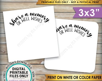 """Share a Memory or Well Wishes Cards, Retirement Party, Birthday, Graduation Party, Bon Voyage, 3x3"""" cards on 8.5x11"""" PRINTABLE Sheet <ID>"""