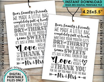 "Wedding Tags, Thank You Welcome Bag, Out of Town Guests, Destination Wedding Thank Yous, PRINTABLE 4.25x5.5"" tags on 8.5x11"" Sheet"