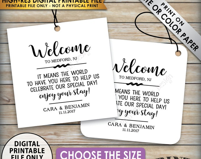 """Wedding Tags, Welcome Bag Tags, Hotel Bag Labels, Out of Town Destination Wedding, Thank You Tags, Choose Tag Size, 8.5x11"""" PRINTABLE Sheet"""