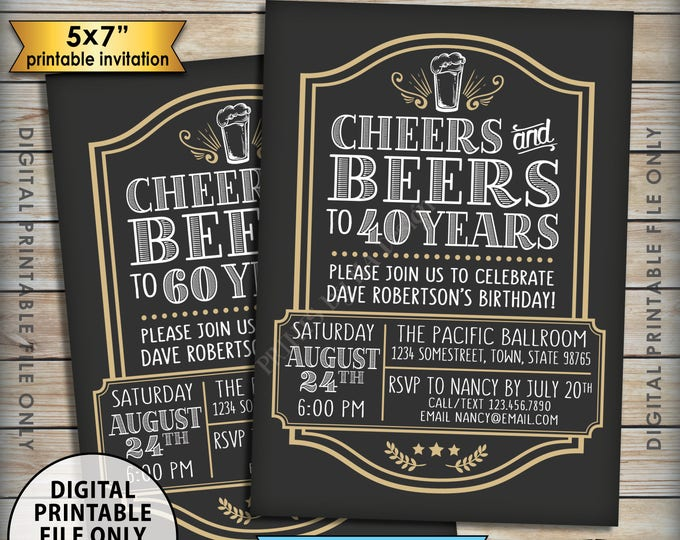 "Cheers and Beers Birthday Inviation, Cheers & Beers to Bday Years, Cheers to Any Birthday, Beer B-day Invite, PRINTABLE 5x7"" Invitation"