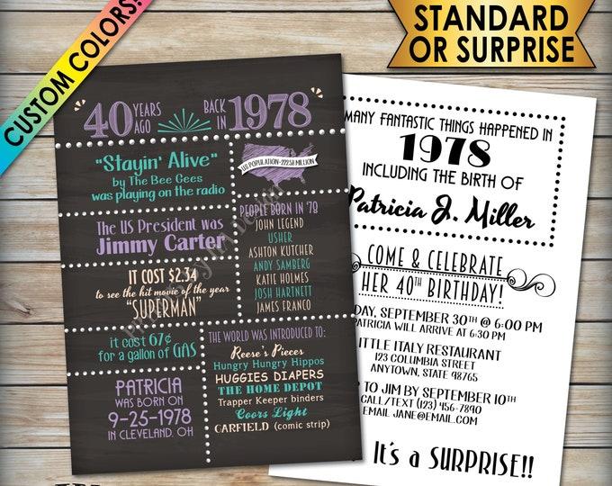 "40th Birthday Invitation, 40th Invite, Born in 1978 Flashback 40 Years Ago 1978 Invite, Chalkboard Style PRITNABLE 5x7"" 40th Bday Invitation"