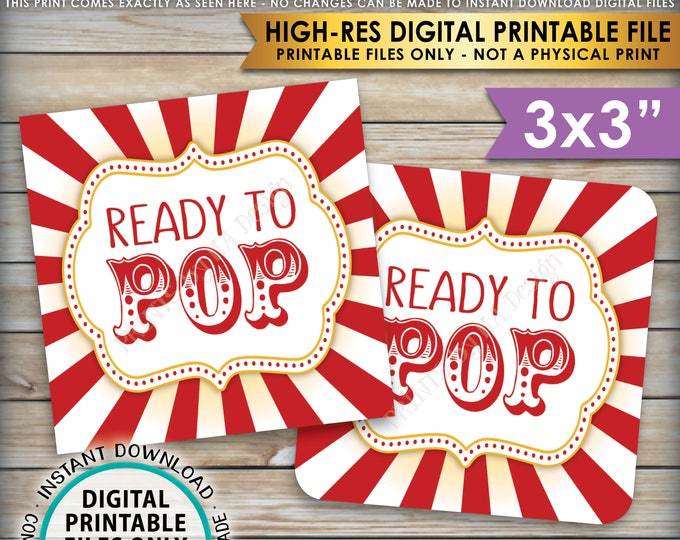 """Ready to Pop Baby Shower Labels Cards Tags, Circus Theme Popcorn Carnival Baby Shower Decor, 3x3"""" cards on 8.5x11"""" PRINTABLE Sheet <ID>"""