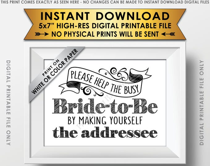 "Address Envelope Bridal Shower Sign Help the Bride by Addressing an Envelope Addresee, Thank You Envelopes, 5x7"" Printable Instant Download"