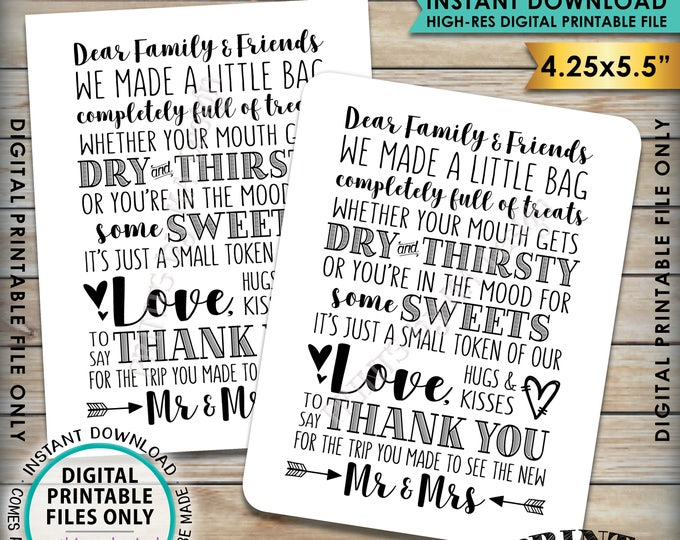 "Thank You Welcome Bag Card, Welcome Out of Town Guests, Destination Wedding Thanks 4.25x5.5"" Goody Bag Cards on PRINTABLE 8.5x11"" Sheet <ID>"
