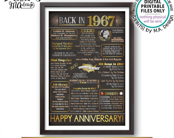 """Anniversary Party Married in 1967, Flashback to 1967 USA History Back in 1967 Flashback Poster, Chalkboard Style PRINTABLE 20x30"""" Sign <ID>"""
